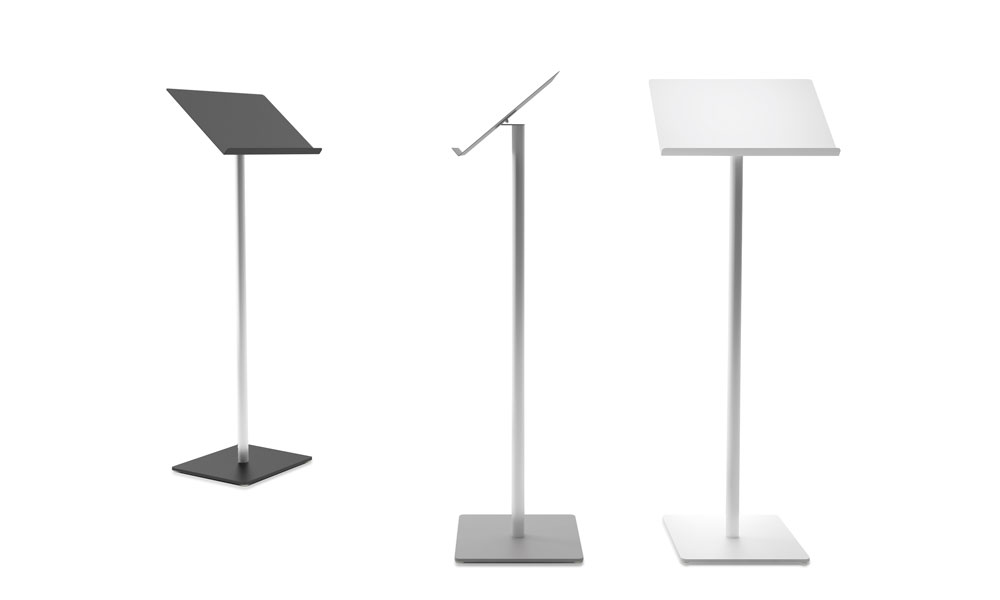 Atria. Light structure lectern. It has an aluminum column