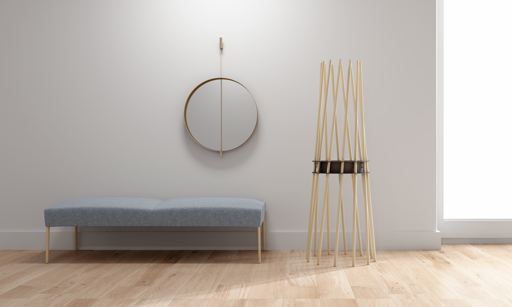 Ker. Perchero exclusivo compuesto por barras de madera de haya