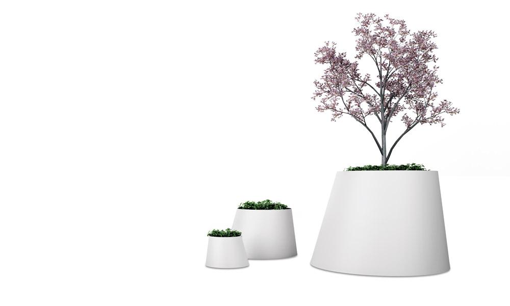 Conee Plant Pot. Estructura de tronco de cono con el eje inclinado