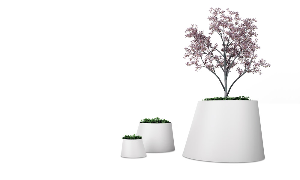 Conee Plant Pot. Have a cone trunk structure with a bent axis
