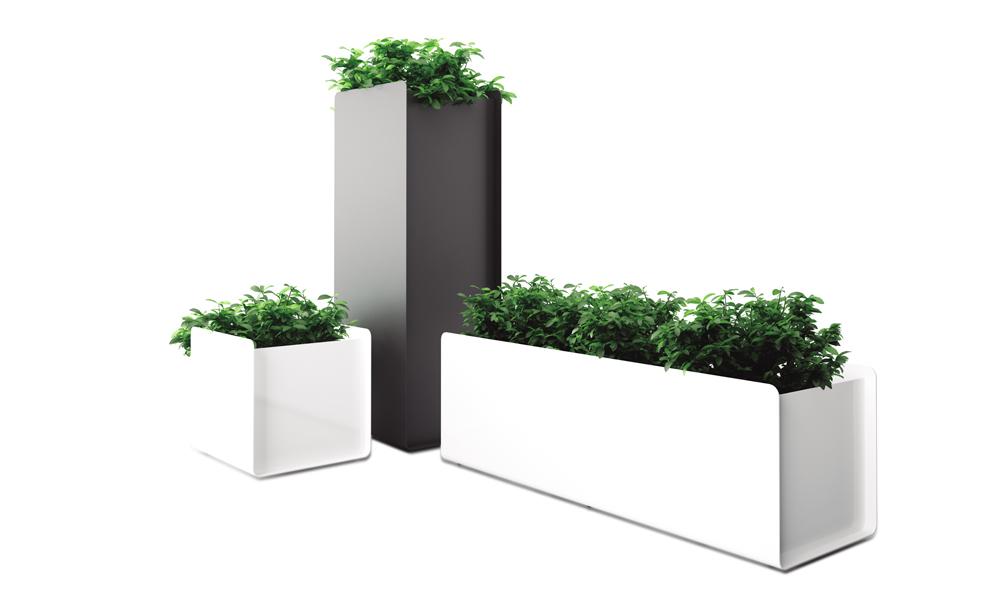 Crepe Plant Pot. Jardineras fabricadas en plancha de aluminio plegada