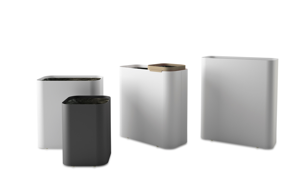 Drop. Paper bin that includes in its four sizes a hoop to hide the plastic bag