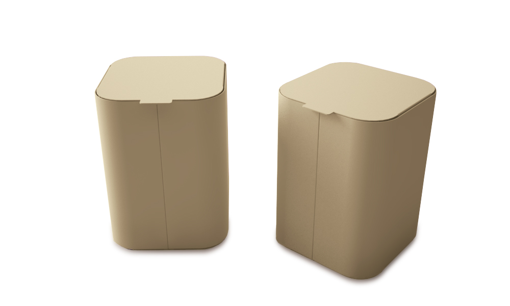 Drop Top Mini. 13 liter bin with lid. Made of galvanized steel