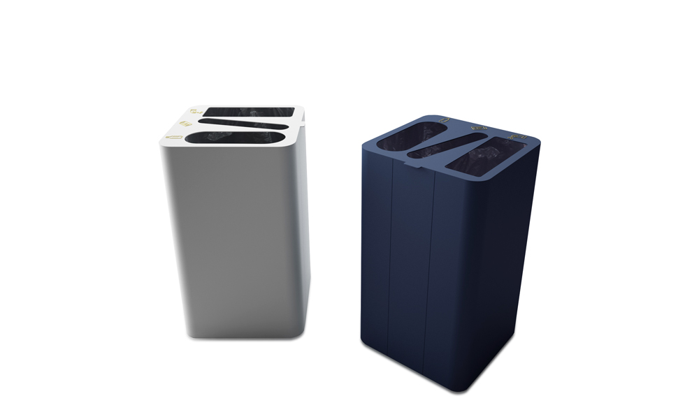 Drop Top Triple. Bin allows multiple recycling in a single container