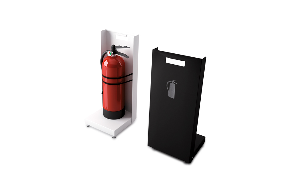 Faya. Discreet fire extinguisher support made of painted steel sheet