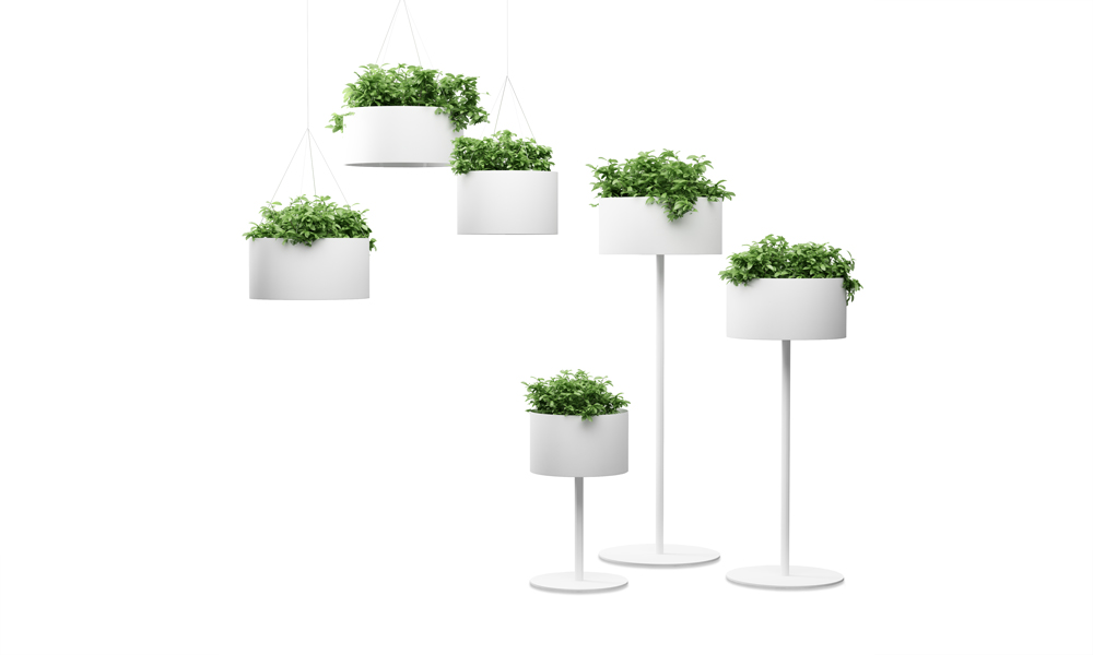 Green Cloud. This plant pots evokes lamps emitting vegetation