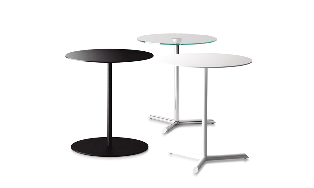 Mill. The tabletops of this collection are available in lacquered MDF