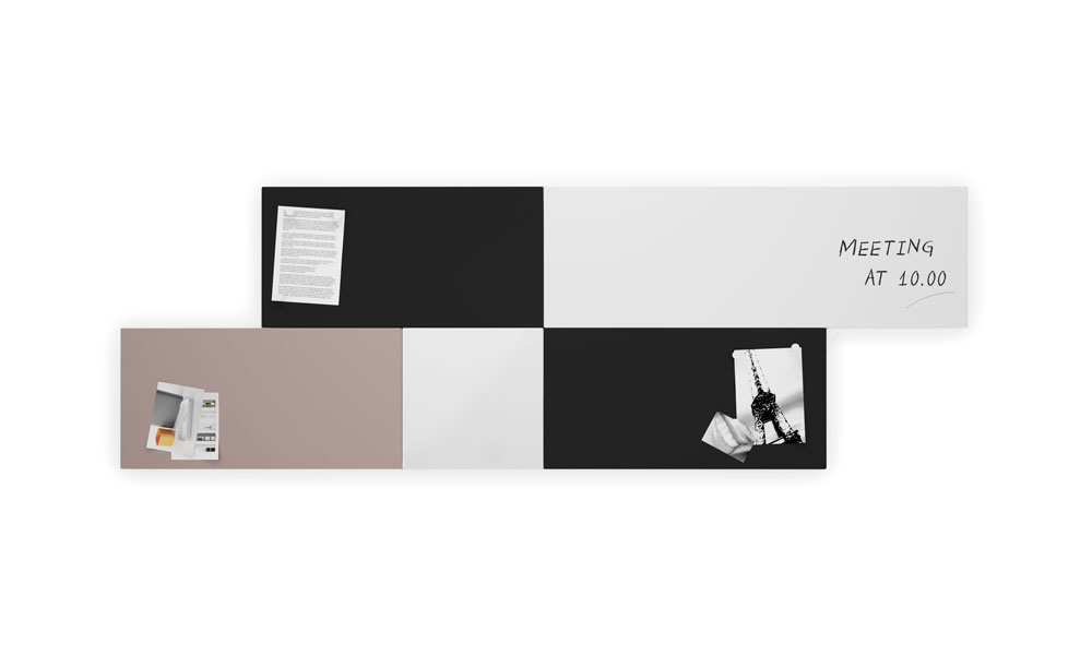 Modulor. Metallic notice panels of different sizes and colors