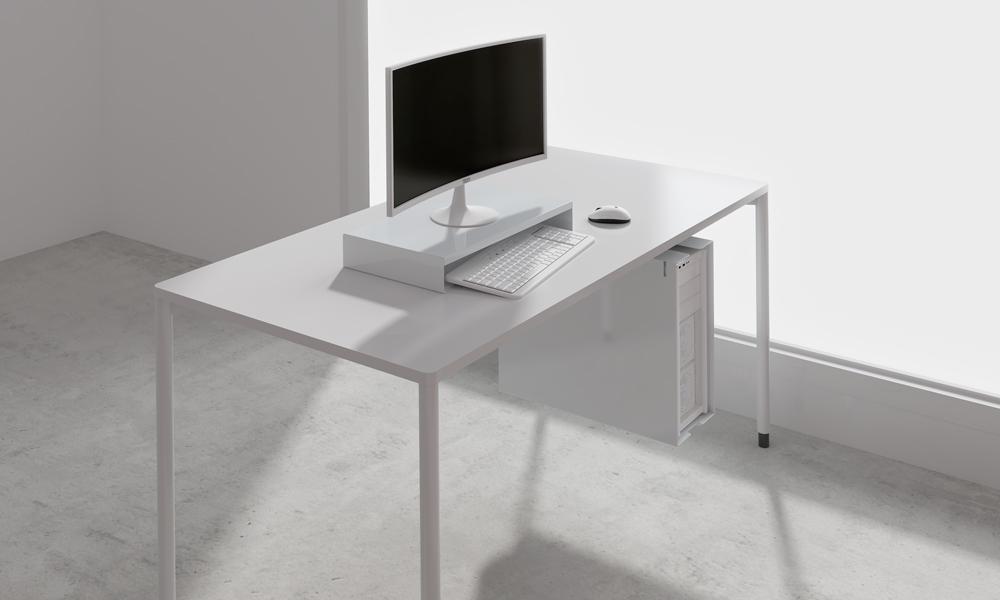 Supp. Soporte para pantallas para guardar el teclado debajo.