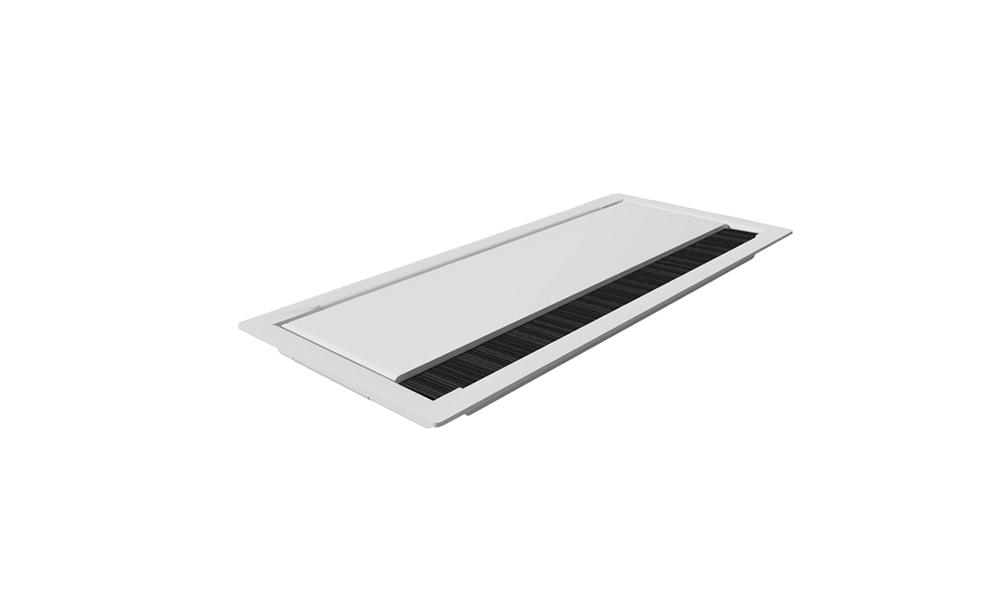 Swire. Pasacables rectangular de sobremesa metálico y lacado.