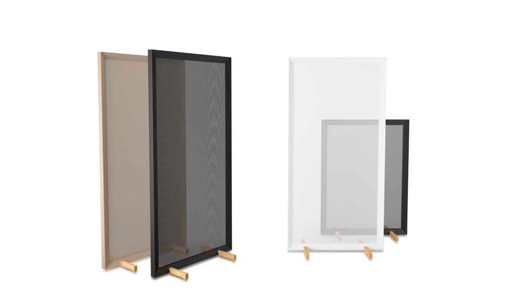 Parban. Elegant and minimalist room divider with oak feet