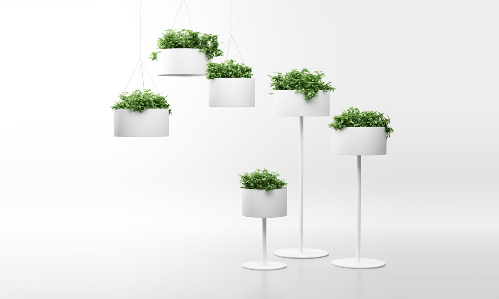 Green Cloud. Maceteros que evocan lámparas que emiten vegetación