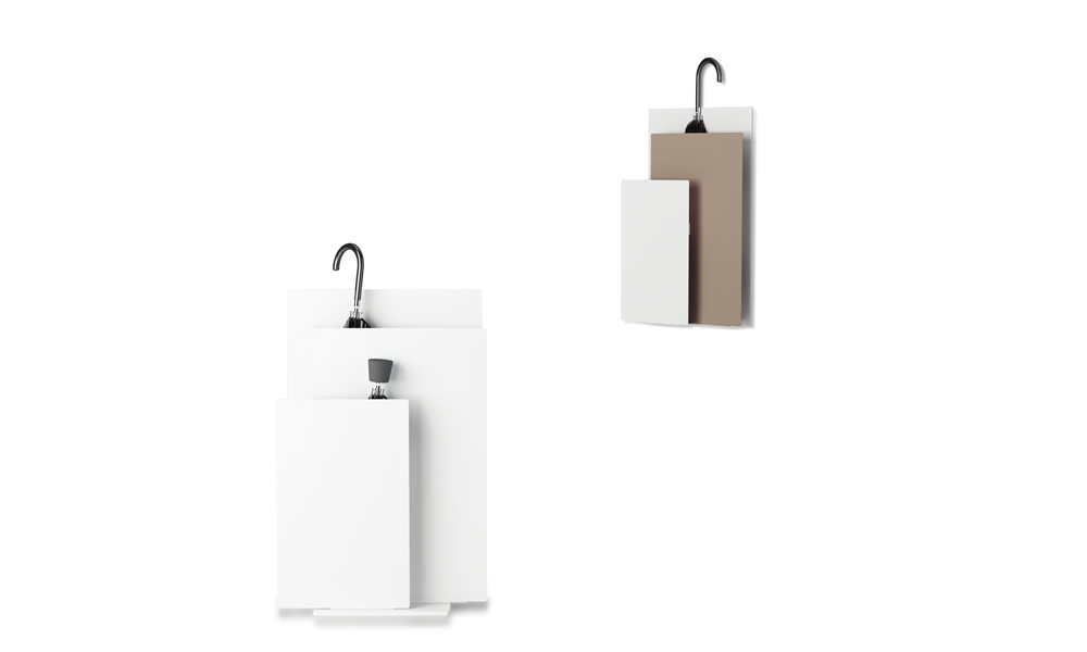 Sou. Umbrella stand composed by three painted steel panels