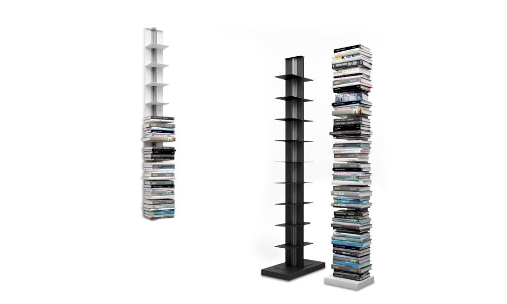 Usio. La colección de estanterías destaca por su línea limpia y elegante