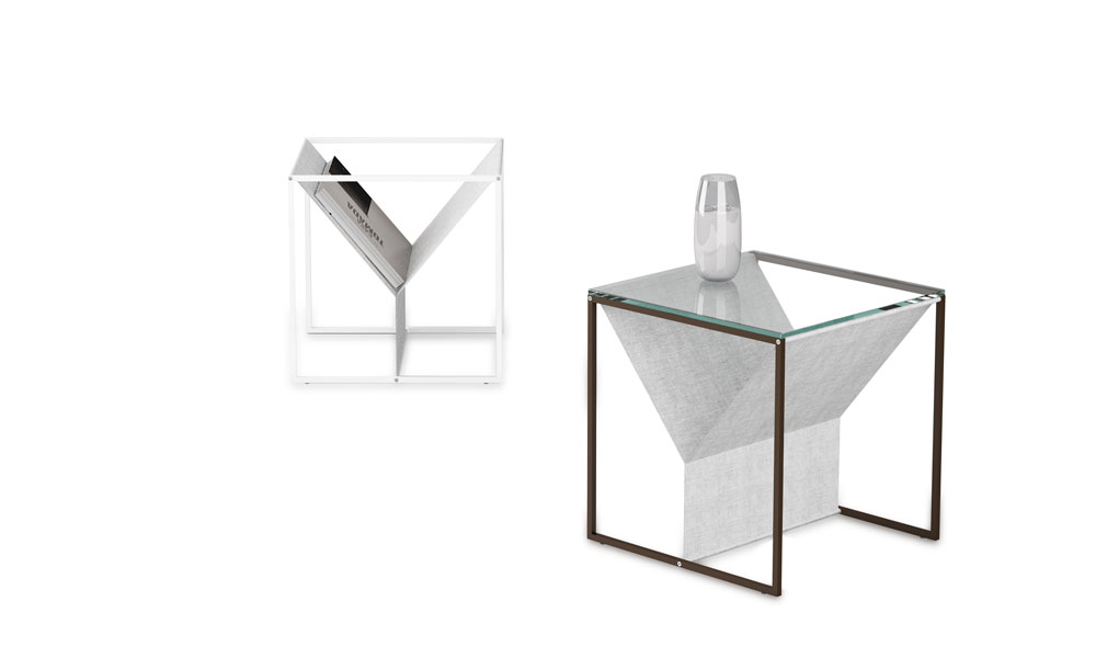 Zin. Singular magazine rack. Its structure allows to be use as a side table