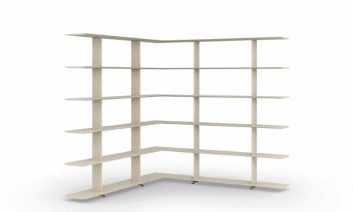 Wing corner. La colección Wing es un sistema de estanterías modulares.