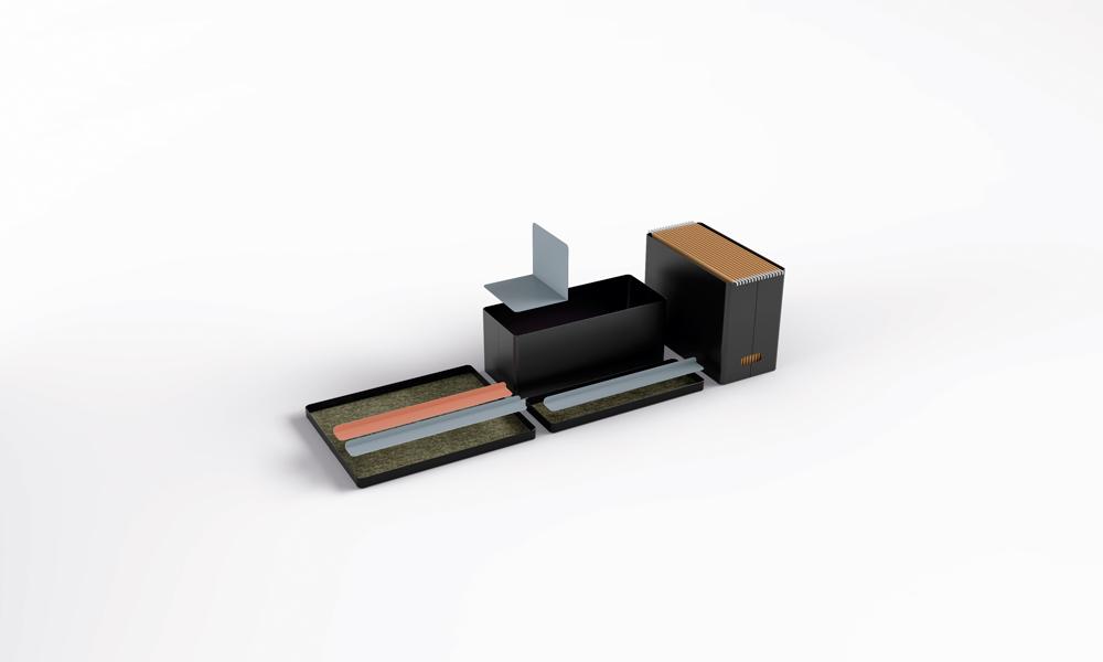 Accesorios contenedores. Cuatro elementos contenedores modulares.