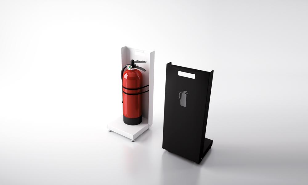 Faya. Discreto soporte para extintores fabricado en plancha de acero